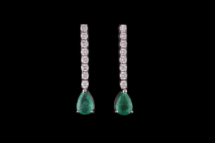 18ct White Gold Diamond and Emerald Drop Earrings