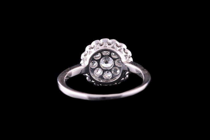 18ct White Gold Round Diamond Pave Dress Ring