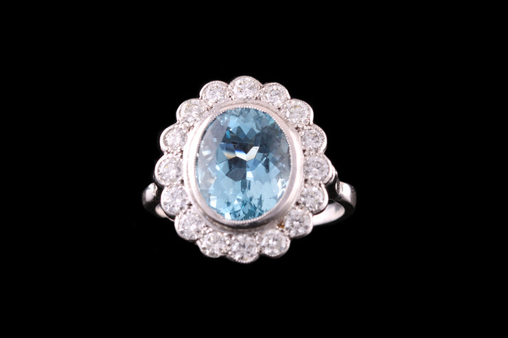 18ct White Gold Aquamarine and Diamond Cluster Dress Ring