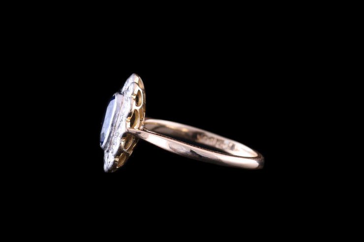18ct Yellow Gold Sapphire and Diamond Long Oval Cluster Ring
