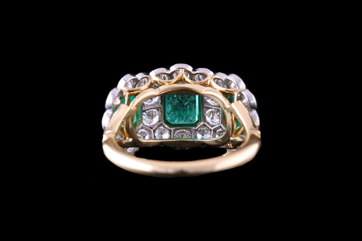 18ct Yellow Gold Emerald and Diamond Triple Cluster Ring