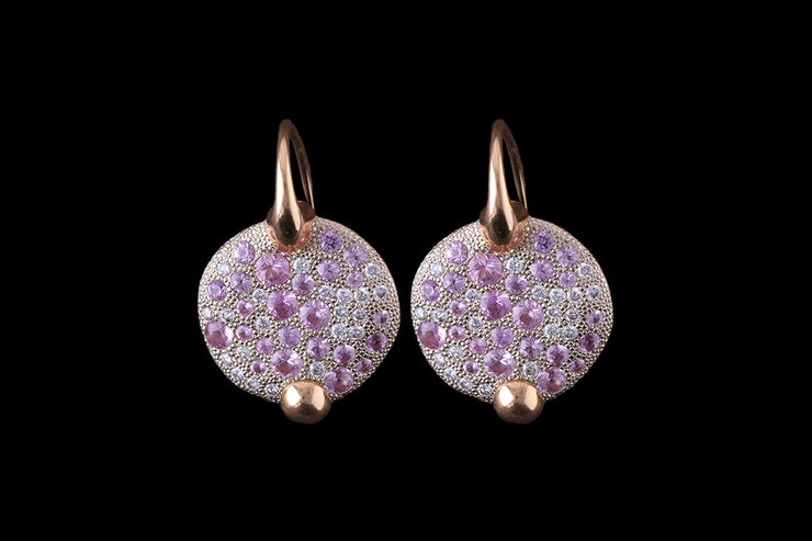18ct Yellow Gold Pink and White Diamond Earrings