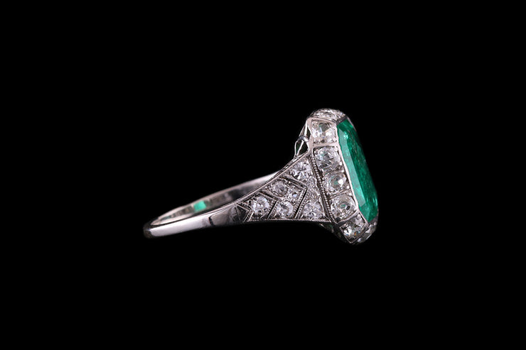 Platinum Emerald and Diamond Dress Ring