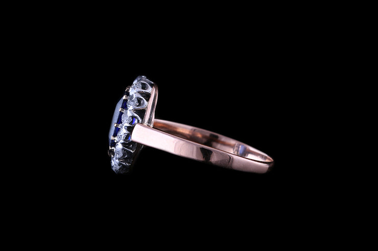 18ct Rose Gold Sapphire & Diamond Oval Cluster Ring