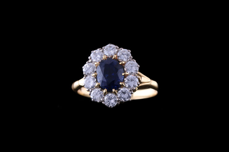 18ct Yellow Gold Sapphire & Diamond Cluster Ring