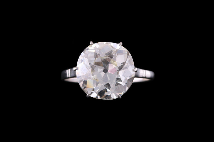 French Platinum Diamond Old Cut Single Stone Ring