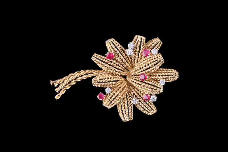 18ct Yellow Gold Ruby and Diamond Flower Brooch