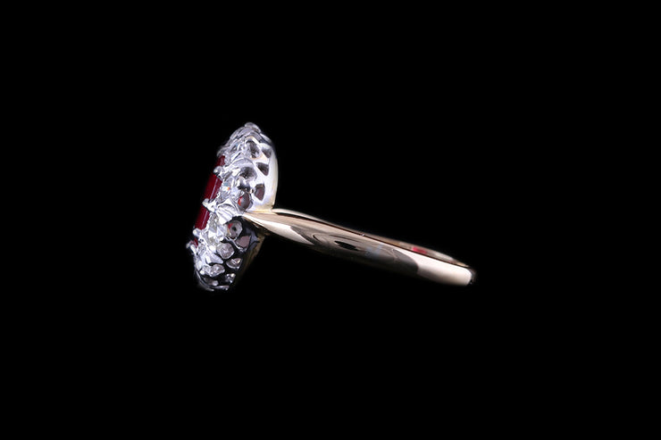 18ct Yellow and White Gold Ruby and Diamond Cluster Ring
