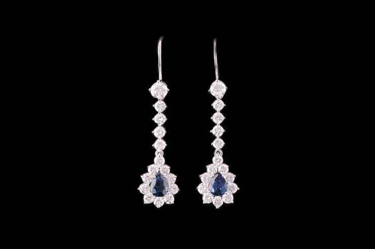 18ct White Gold Diamond and Sapphire Drop Earrings