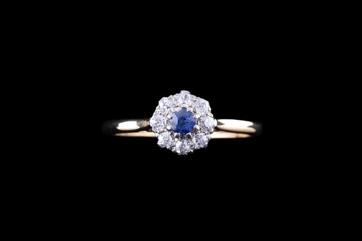 18ct Yellow Gold and Platinum Diamond and Sapphire Cluster Ring
