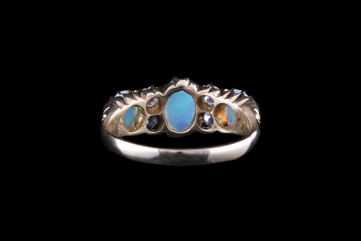 18ct Yellow Gold Opal and Diamond Seven Stone Ring