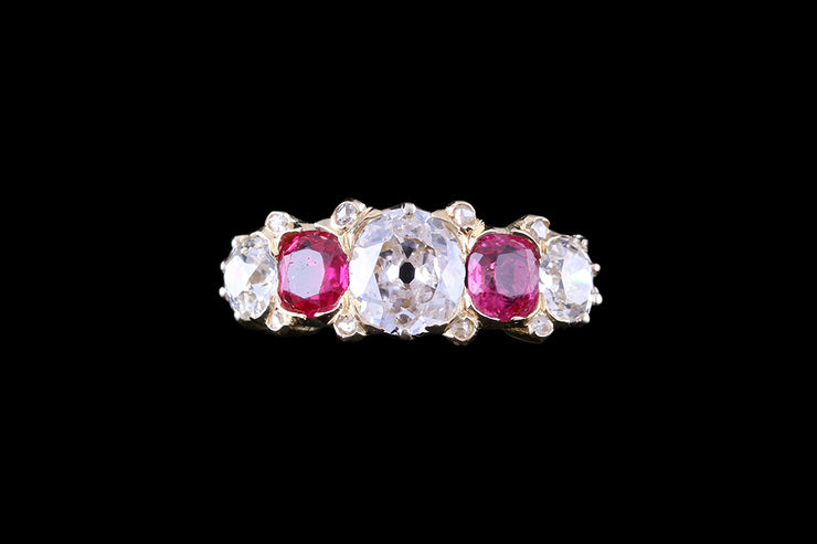 18 ct Yellow Gold Diamond and Ruby Five Stone Ring