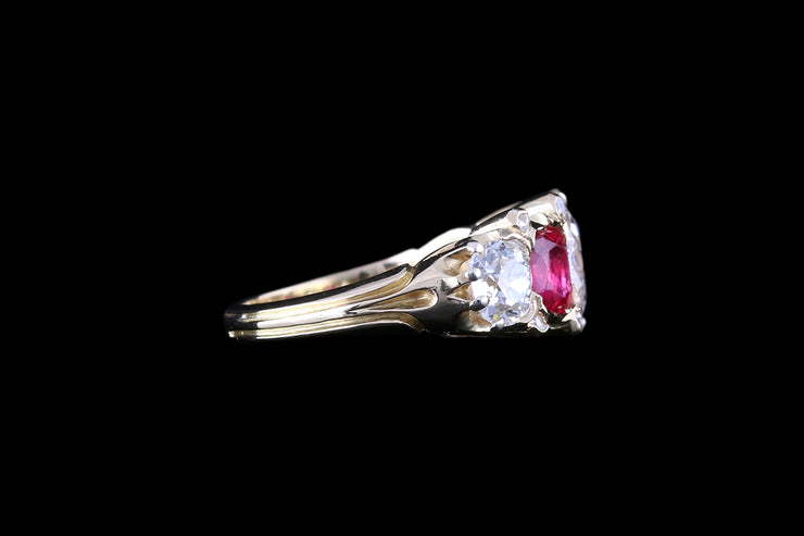 18ct Yellow Gold Diamond and Ruby Five Stone Ring