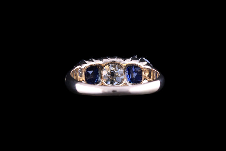 18ct Yellow Gold and Platinum Sapphire and Diamond Three Stone Ring