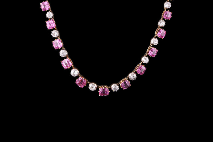 18 ct Yellow Gold and Silver Diamond and Pink Sapphire Necklace
