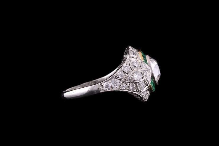 Platinum Diamond and Emerald Bombe Ring
