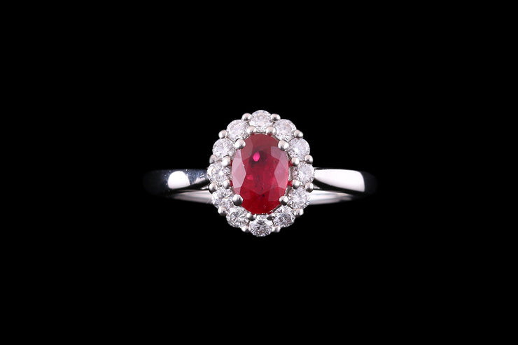 Platinum Diamond and Ruby Oval Cluster Ring