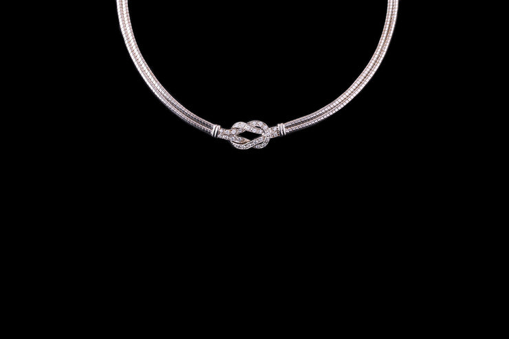 18ct White Gold Diamond Set Collar