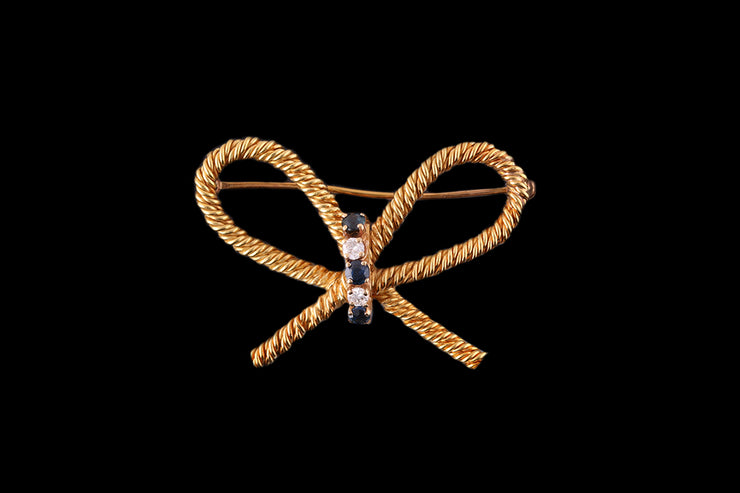 Tiffany & Co Yellow Gold Diamond and Sapphire Bow Brooch