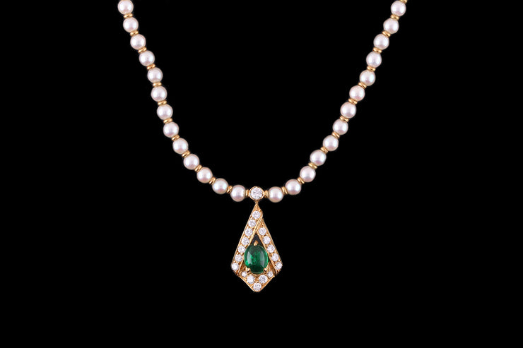 18ct Yellow Gold Pearl Bead Necklace with Diamond and Emerald Pendant