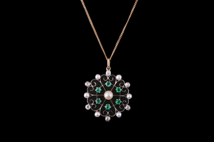 18ct Yellow Gold and Silver Emerald Diamond and Pearl Decorative Pendant