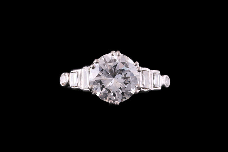 Platinum Diamond Single Stone Ring with Diamond Shoulders