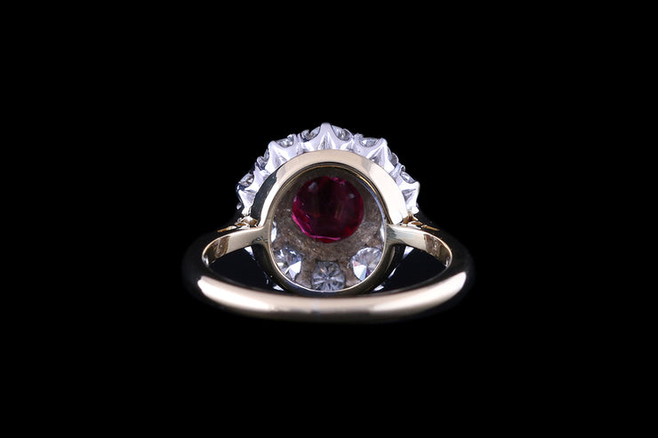 18 ct Yellow Gold and Platinum Diamond and Ruby Cluster Ring