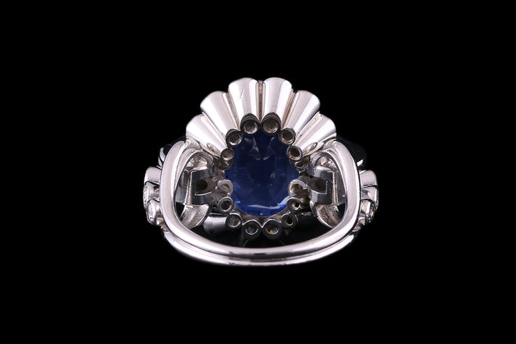 Platinum Diamond and Ceylon Sapphire Cluster Ring