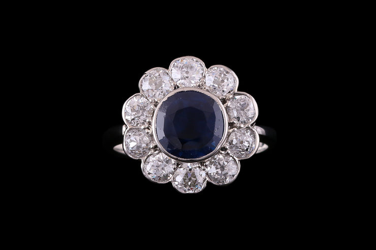 Platinum Diamond and Sapphire Cluster Ring