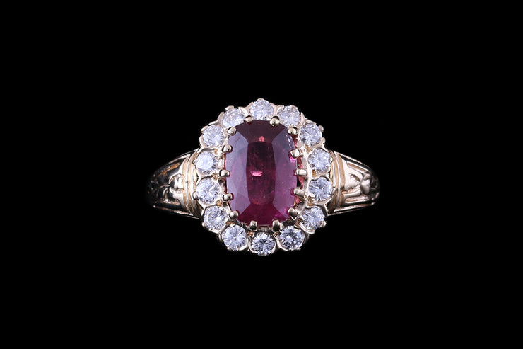 14ct Yellow Gold Ruby and Diamond Cluster Ring
