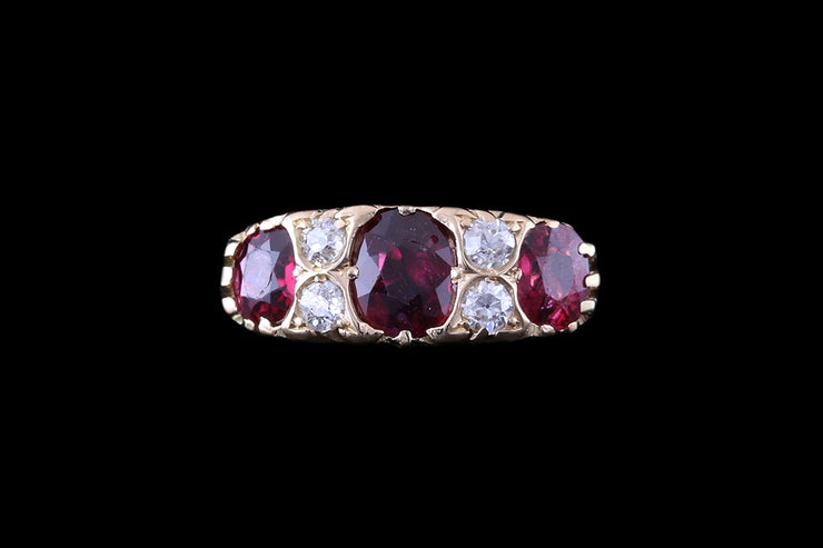 18 ct Yellow Gold Diamond and Ruby Seven Stone Ring