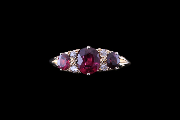 18ct Yellow Gold Diamond and Ruby Seven Stone Ring
