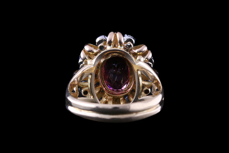18ct Yellow Gold Diamond and Tourmaline Ring