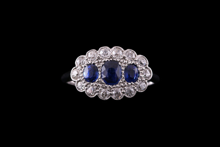 18ct White Gold and Platinum Diamond and Sapphire Cluster Ring