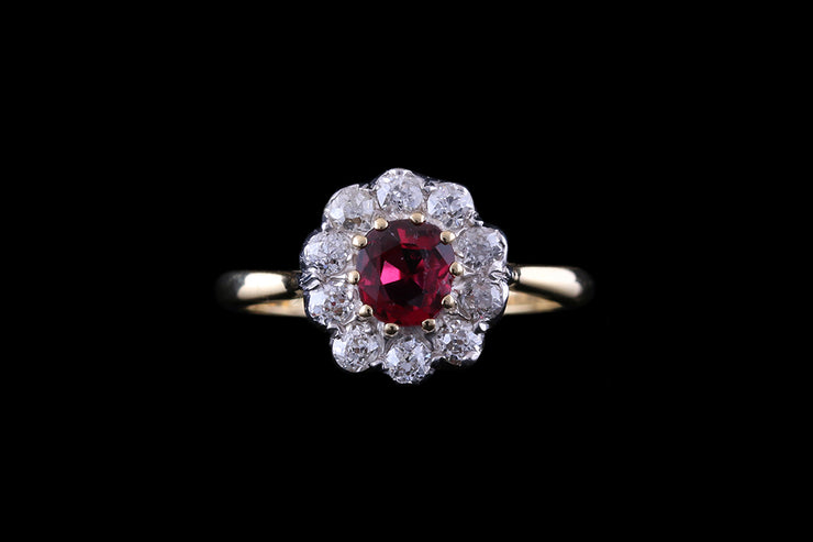 18ct Yellow Gold and Silver Diamond and Ruby Round Cluster Ring