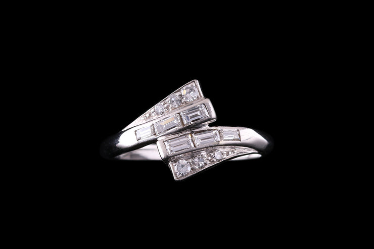 Platinum Diamond Cross Over Dress Ring