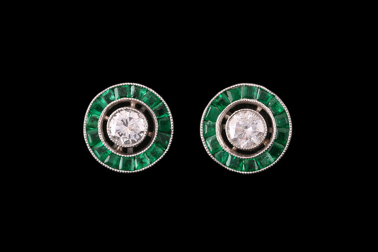 18ct Yellow and White Gold Diamond and Emerald Target Stud Earrings