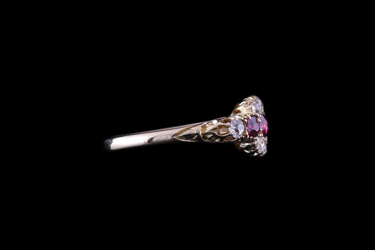 18ct Yellow Gold Diamond and Ruby Dress Ring