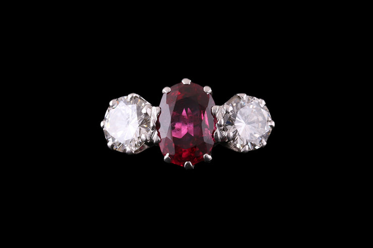 Platinum Diamond and Ruby Three Stone Ring