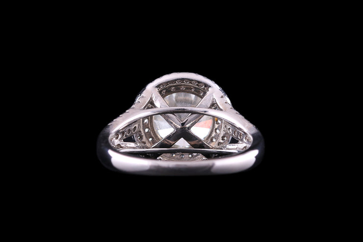 18ct White Gold Diamond Single Stone Ring With Double Target Surround