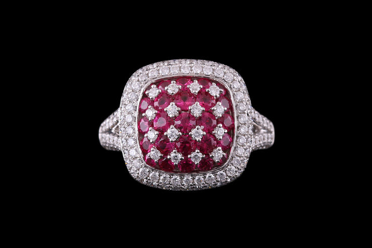 18ct White Gold Diamond and Ruby Square Pave Dress Ring