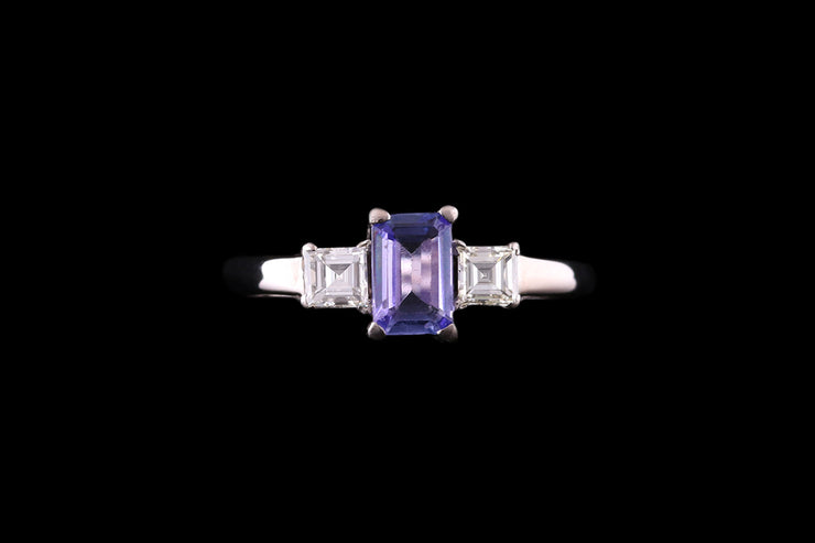 18 ct White Gold Diamond and Tanzanite Three Stone Ring