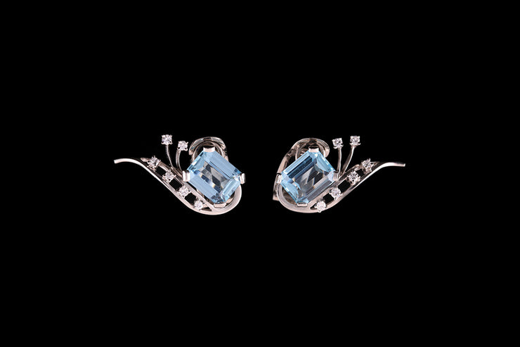 18ct White Gold and Platinum Diamond and Aquamarine Stud Earrings