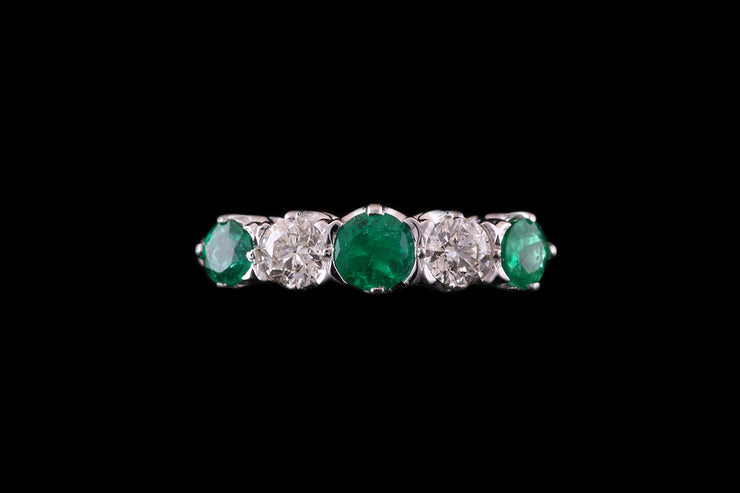 Platinum Diamond and Emerald Five Stone Ring