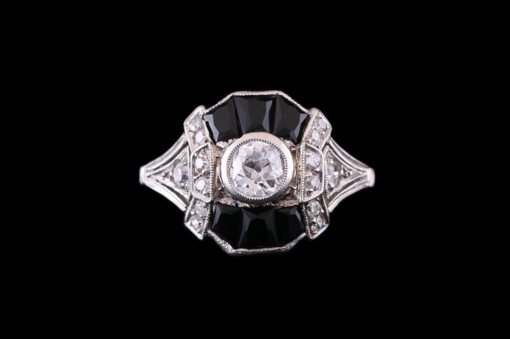 Platinum Diamond and Black Onyx Dress Ring