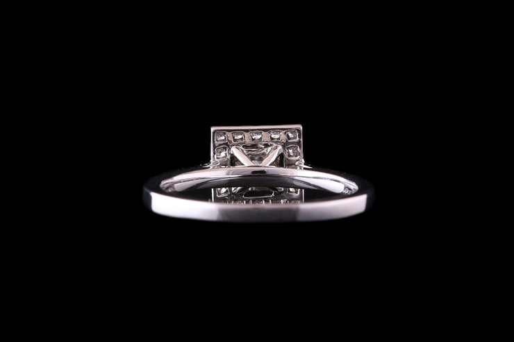 Platinum Diamond Square Target Ring with Diamond Shoulders