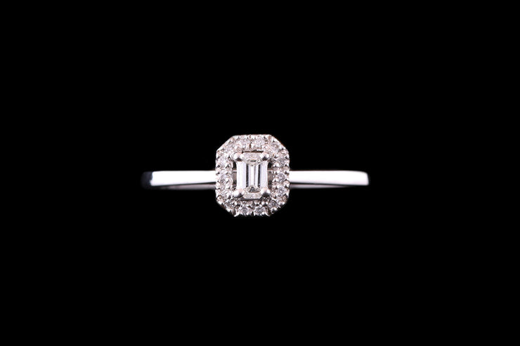 Platinum Diamond Rectangular Cluster Ring