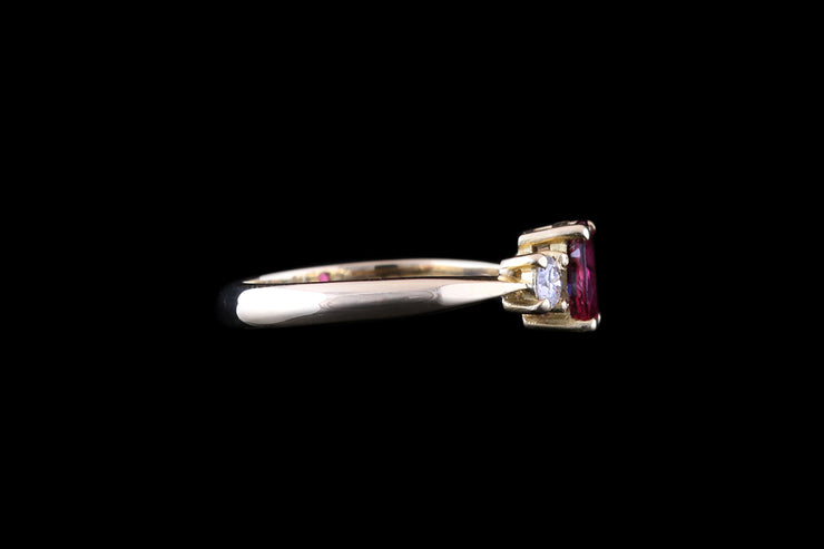 18 ct Yellow Gold Diamond and Ruby Three Stone Ring