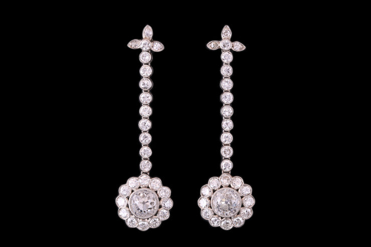 18 ct White Gold Diamond Cluster Drop Earrings