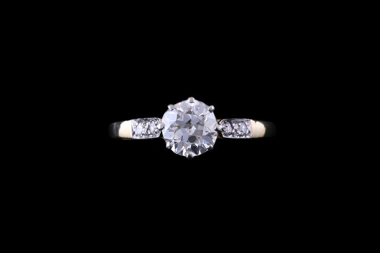 18ct Yellow Gold Diamond Single Stone Ring with Diamond Shoulders